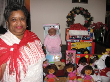 Toy Drive 2006 - Former 1st Vice Pres. Deborah Kilpatrick-Jones  with the doll donations at Holiday toy drive event.