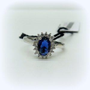 Anello contorno pietra blu in argento 925