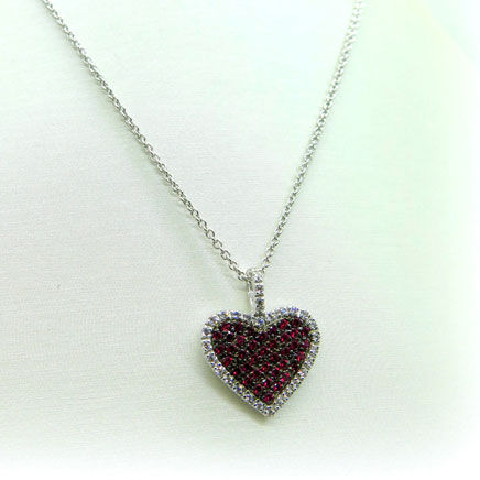 Collana ciondolo cuore rosso in argento 925 prodotto artigianale
