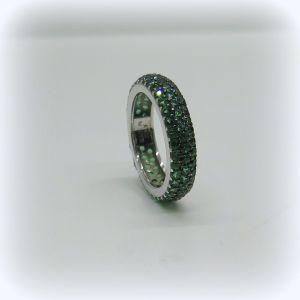 Anello eternity fedina circolare 3 file verde color smeraldo