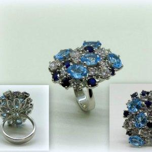Anello donna in argento 925 con topazi azzurri