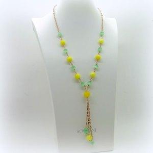Collana Sovrani bijoux cristalli giallo e verde