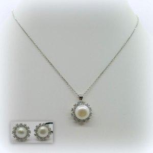 Parure collana e orecchini con perla di fiume in argento 925