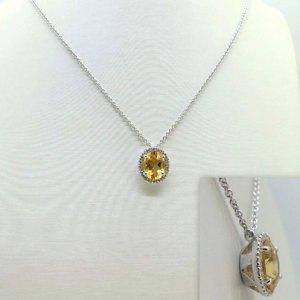 Collana ciondolo giallo citrino il centro in argento 925 prodotto artigianale