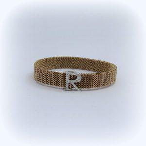Bracciale elastico lettera R in argento 925 e zirconi