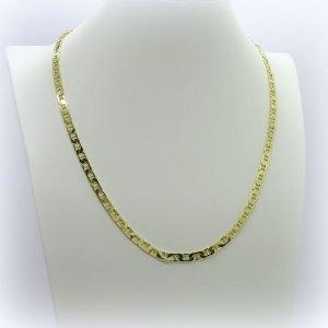 Collana maglia marinara piatta in argento 925 placcata oro