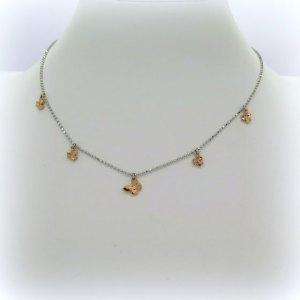 Collana farfalla e trifogli in argento 925 placcata oro rose'
