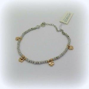 Bracciale quadrifogli placcato oro rose in argento 925