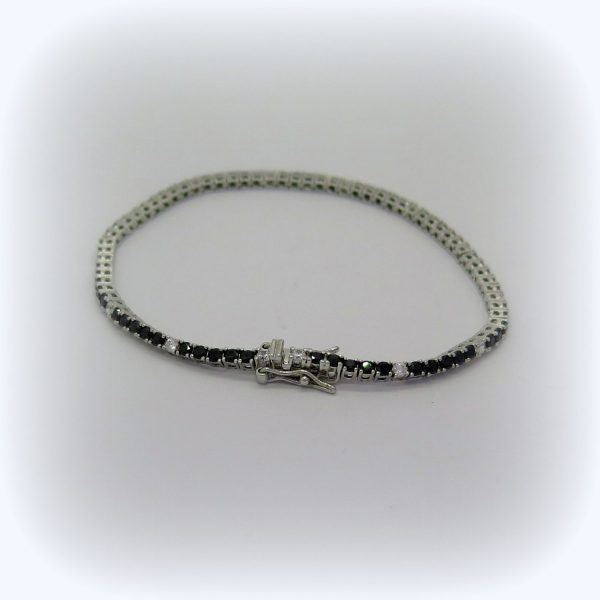 Bracciale tennis pietre nere alternate in argento 925