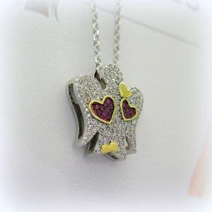 Collana angelo in argento cuori