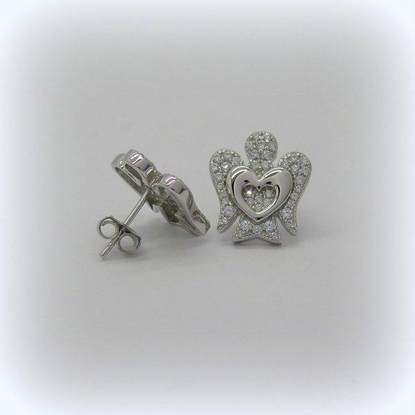 Orecchini Angelo e cuore in argento 925
