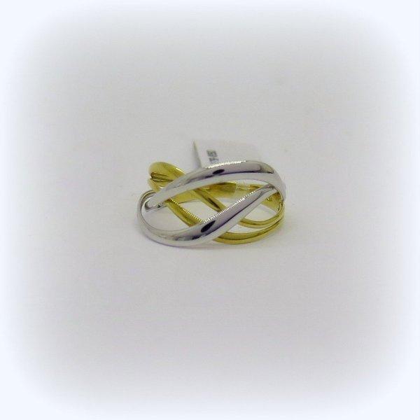 Anello bicolore giallo e bianco in oro 18 ct