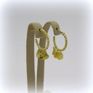 Orecchini pendenti cerchi e cuori in oro giallo 18 ct