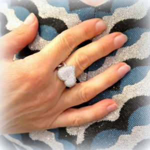Anello cuore gambo groumette argento 925