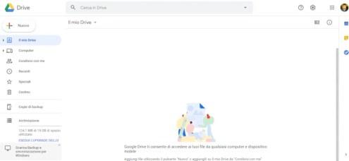 pannello di controllo google drive