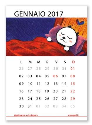 gatto calendario 2017