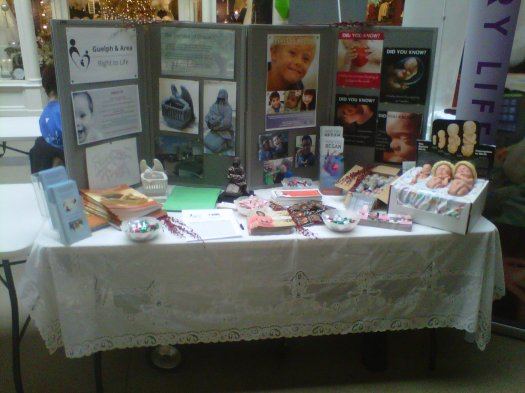 Guelph & Area Right to Life's booth at the Giving Fair on December 2nd.
