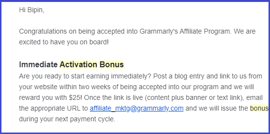 grammarly affiliate activation bonus