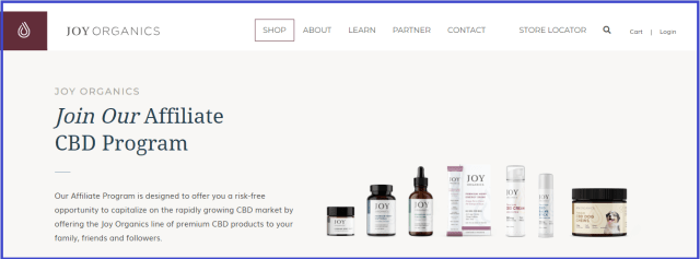 Joy Organics CBD affiliate program
