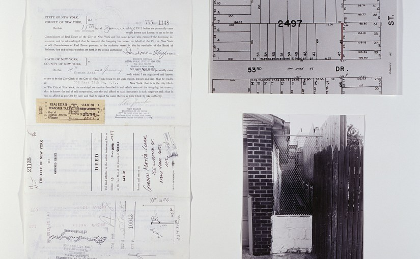 Gordon Matta-Clark, Reality Properties: Fake Estates, Little Alley Block 2497, Lot 42, 1974 (posthumous assembly, 1992). Photographic collage, property deed, site map, and photograph, framed photographic collage: 10 x 87 3/16 x 1 3/8 inches (25.4 x 221.5 x 3.5 cm); framed photograph and documents: 20 5/8 x 22 5/16 x 1 3/8 inches (52.4 x 56.7 x 3.5 cm)