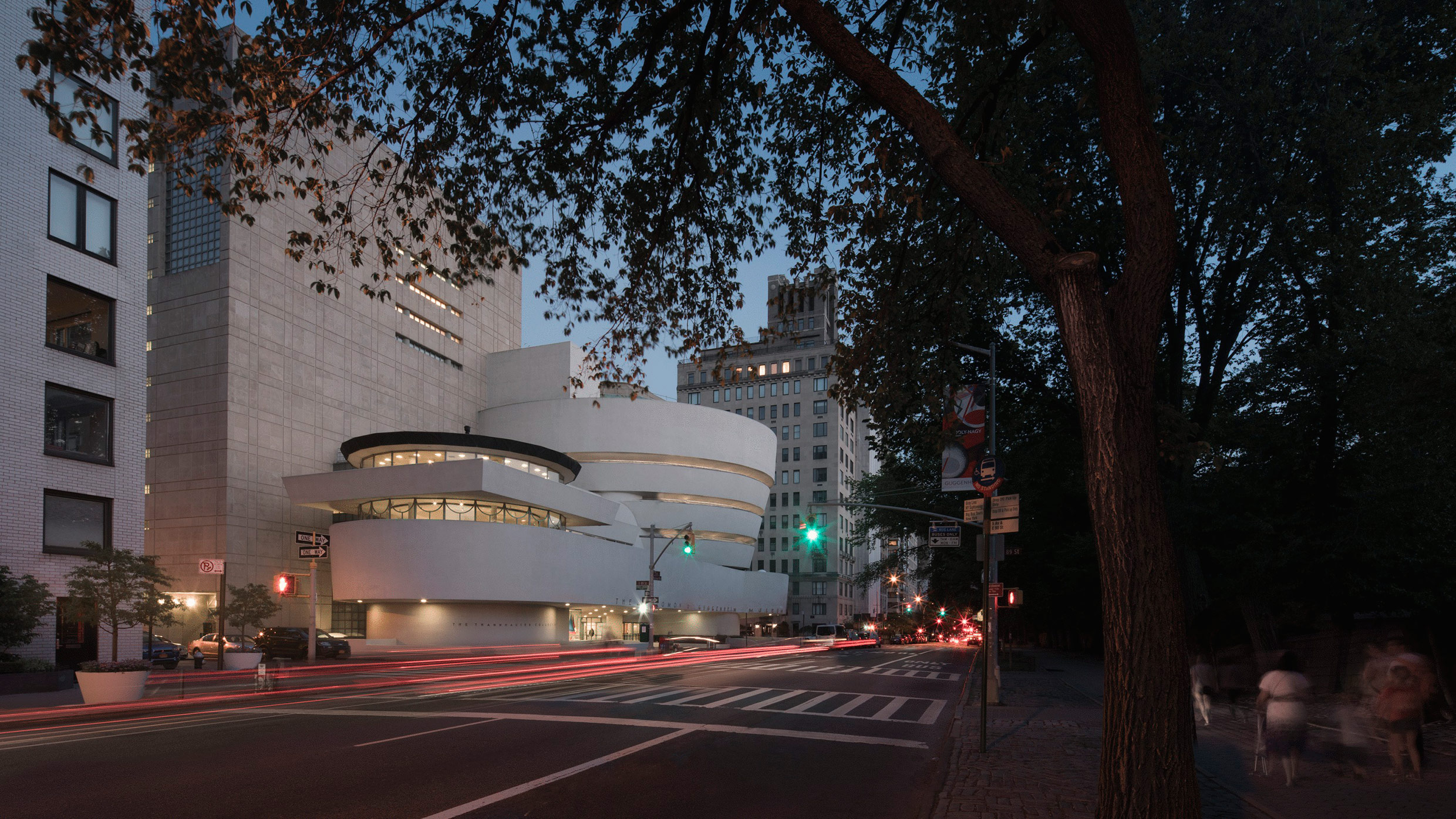 a view of the solomon r guggenheim museum in new york city at late dusk
