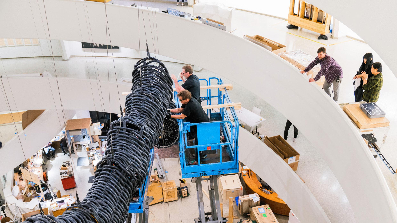 Installing Chen Zhen's Precipitous Parturition at the Guggenheim. Photo: David Heald