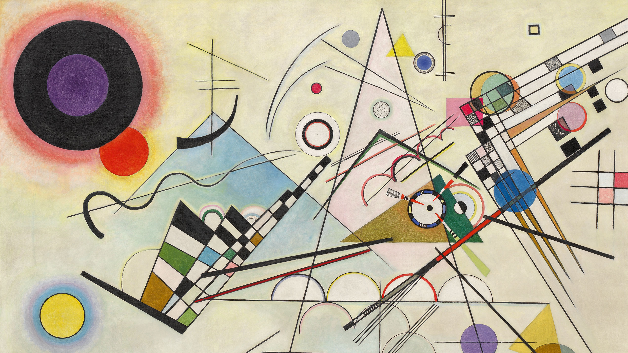 Detail: Vasily Kandinsky, Composition 8 (Komposition 8), July 1923. Oil on canvas, 55 1/8 x 79 1/8 inches (140 x 201 cm). Solomon R. Guggenheim Museum, New York, Solomon R. Guggenheim Founding Collection, Gift, Solomon R. Guggenheim 37.262. © 2009 Artists Rights Society (ARS), New York/ADAGP, Paris