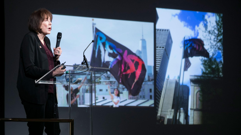 Artist Marilyn Minter speaking at the Guggenheim. Photo: Ben Hider