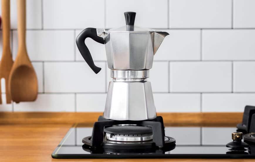 Italian coffee maker on the stove