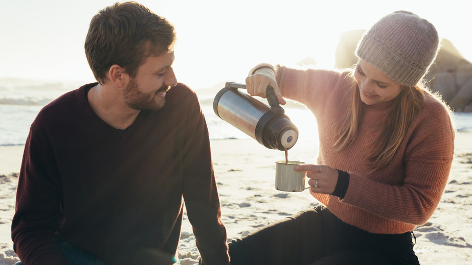 couple with thermos