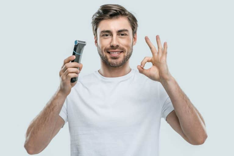 man approving a shaver