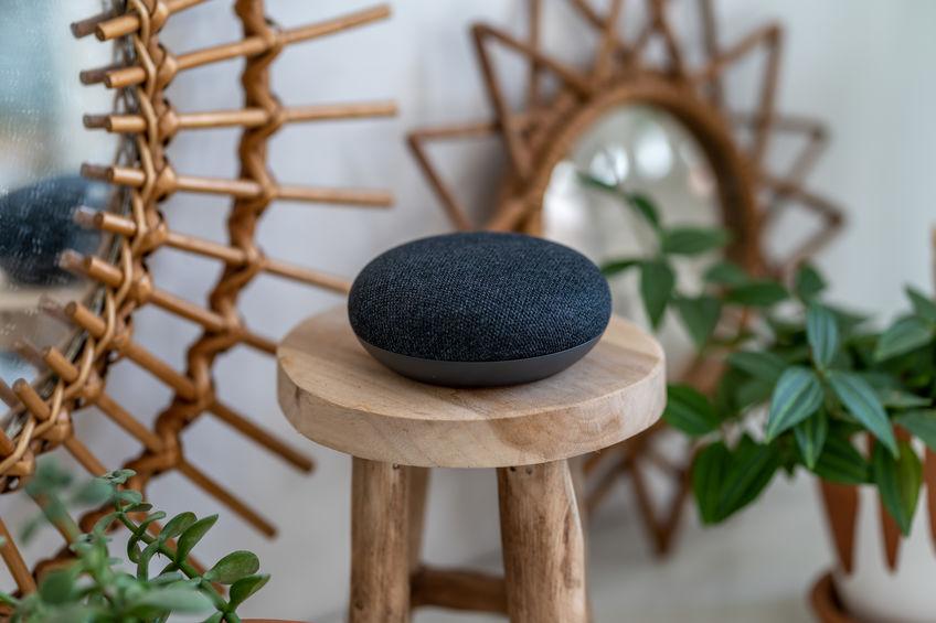 round speaker amazon echo on a chair