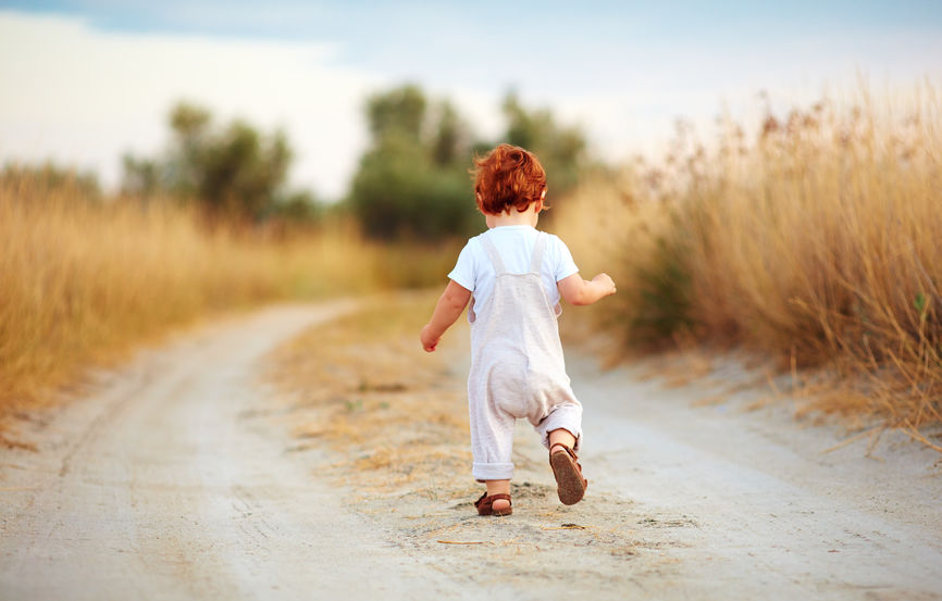 cute toddler baby boy running away along the path at summer field