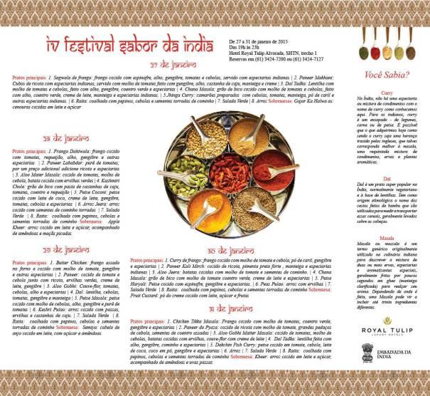Programação do IV Festival Sabor da Índia