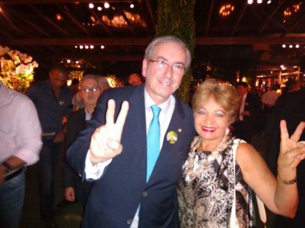 Eduardo Cunha, novo presidente da Câmara, e a jornalista Luzia Câmara