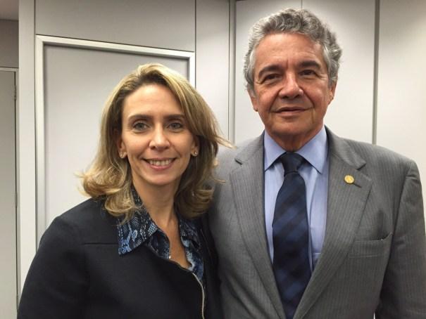 A presidente do Instituto Palavra Aberta, Patrícia Blanco, e o ministro do STF Marco Aurélio Mello - Foto: Engenho Comunicação