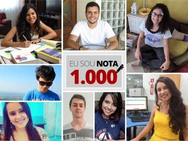 Seleto grupo de estudantes que tiraram nota 1000 no ENEM 2014. Foto: G1 Globo