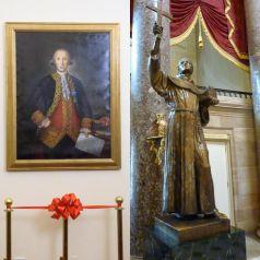 Retrato de Gálvez e estátua do Fr. Serra