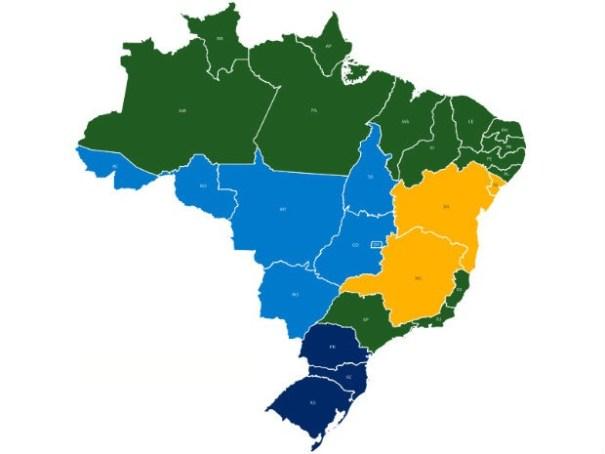 Estados em verde já concluíram adoção do 9º dígito; BA, MG e SE, em amarelo, estão em transição; azul marca estados que adotam dígito adicional em 2016 (Foto: Anatel/Reprodução)