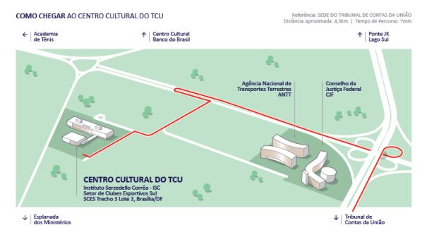Como chegar ao Centro Cultural TCU/ISC - Fonte: Centro Cultural TCU/ISC