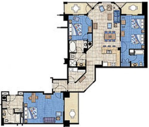 Marriott Aruba Surf Club 3 Bedroom Floor Plan