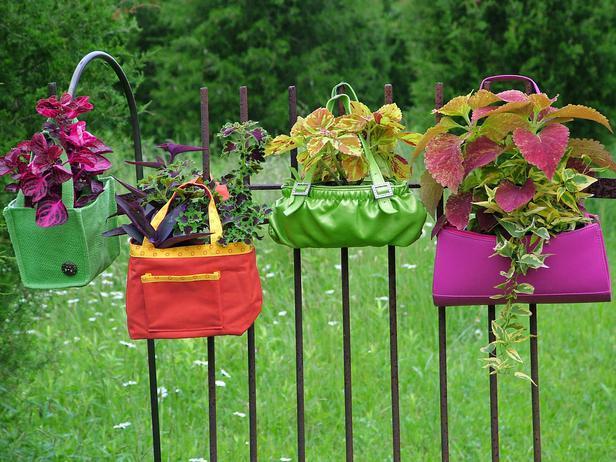 Alcune borsette colorate appese ad una recinzione formano una composizione curiosa