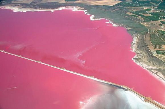 Un lago rosa en España