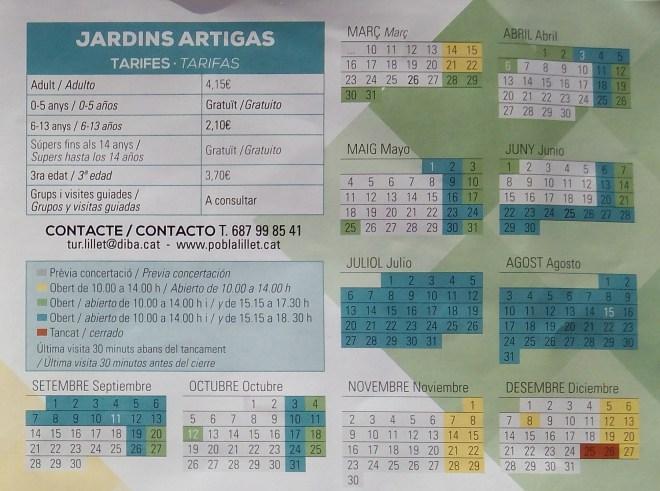 Los Jardines Artigas - Horario de los Jardines Artigas.