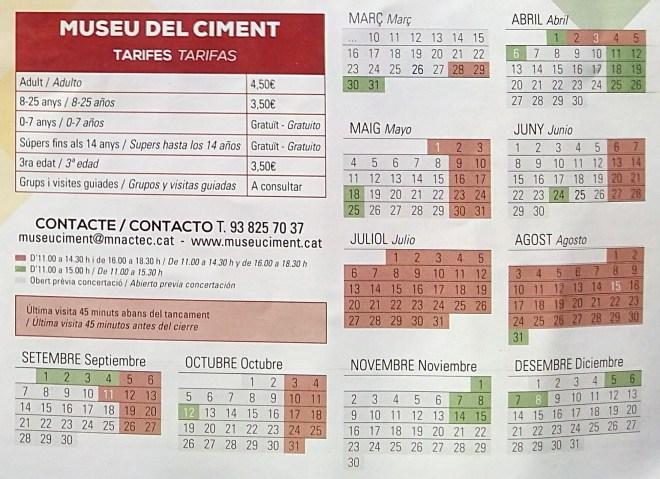 Museo del Cemento Asland - Horarios del Museo del Cemento