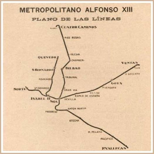 Estación Fantasma de Chamberí - Plano de metro de 1926, con las sucesivas ampliaciones.