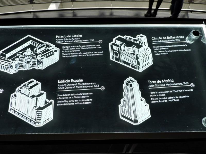 Faro de Moncloa - Representación de los edificios importantes