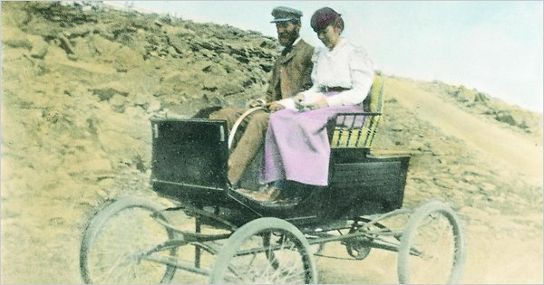 Freeman Stanley y su mujer subiendo al Monte Washington
