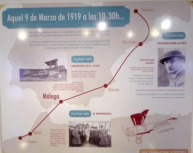Museo de la Aviación - Panel explicativo del primer aterrizaje en Málaga