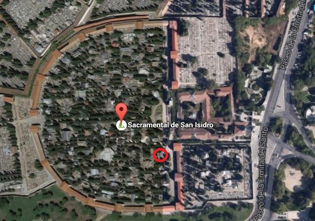 Tumba Ante Pavelic - Ubicación de la tumba de Ante Pavelic (círculo rojo) - Imagen de Google Maps